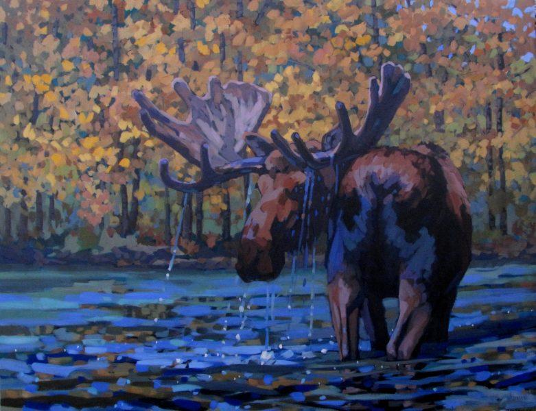Erica_neumann_oil_painting_moose_wildlife_in_river